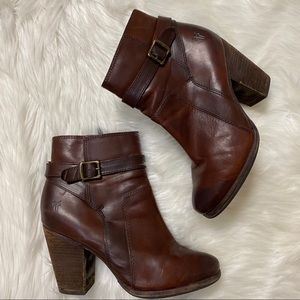 Frye brown leather buckle ankle booties